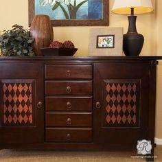 Classic or Retro or Modern Harlequin Painted Furniture Stencil - Painted Furniture - Stenciled Furniture - Royal Design Studio