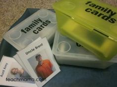 Family photos used as playing cards for kids. This would be great for Old Maid and Go Fish!