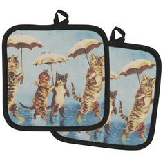 I enjoy creepy old lady things for my house hold.  Raining Cats Potholder - Set of 2 at The Animal Rescue Site