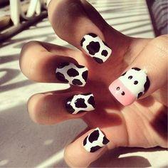 adorable cow nails (:
