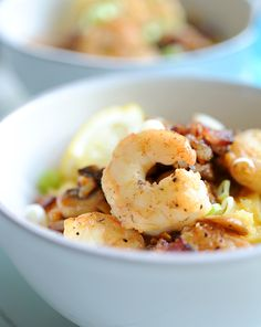 Cheesy Shrimp and Grits recipe with mushrooms and bacon