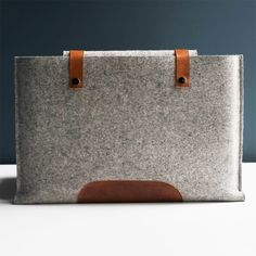 15 Inch MacBook Pro Sleeve - Grey Wool Felt with Brown Leather. 79.00, via Etsy.