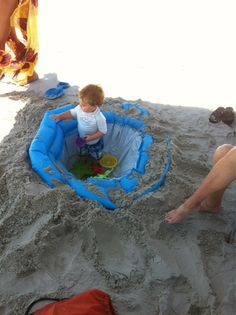How to get a baby to stay in the shade at the beach - make them an in-ground pool