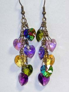 Purple Green inspired by Pididdly Links Mardi Gras Colors Swarovski Hearts Charm Necklace Earrings