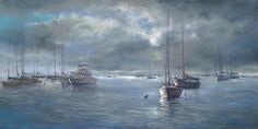 The Awakening (pastel, 18×36) by Helen Kleczynski. See more at ArtistsNetwork.com. ~ch #boats #seascape