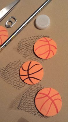 """Working on the Girl Scout Brownie """"Fair Play"""" badge. This is the basketball SWAPS I came up with. Foam, marker, modgepodge or glue and netting. (Netting was an old shower scrruntchy)"""