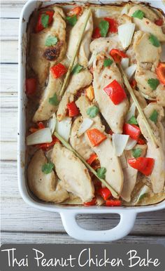 Thai Peanut Chicken Bake! Tender chicken, creamy coconut milk, and fresh lemongrass. Weeknight Perfection.