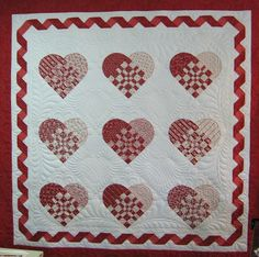 "Be My Valentine, 73 x 73"", by Ruth McCormick.  Pattern in Two-Color Quilts by Nancy J. Martin"