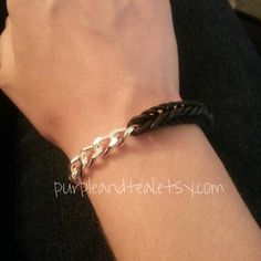 chunky chain and fishtail rainbow loom bracelet