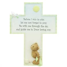 "Beary Special Guardian - Wall Cross,  $11.95. Customer review: ""I bought this cross for my grandson's Baptism. I loved the refined detail on the cross. The little 'angel' bear holding his blanket at the bottom of the cross is just too cute! I would definitely purchase this product again and again for any little one!"""