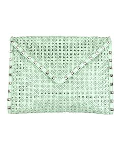 Rebecca Minkoff woven leather and studded Envelope Clutch