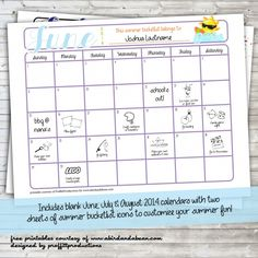 Awesome Customizable Summer Bucket List.  FREE PRINTABLE.