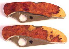 Amboyna Burl spyderco knife