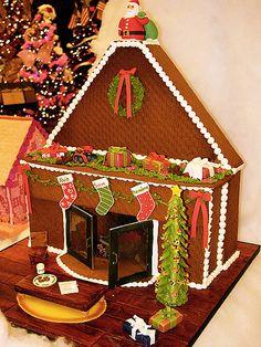Gingerbread fireplace scene