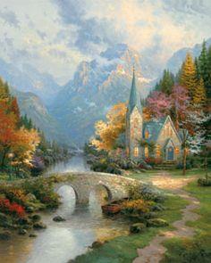 Thomas Kinkade - Mountain Chapel