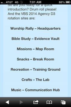 Titles for D3 Secret Agent VBS 2014 rotation sites.