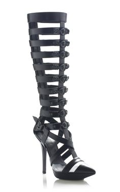 Versace Black Statement Gladiator Pump. #shoes #heels