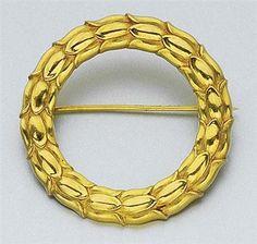 18K Gold Circle Brooch, signed Georg Jensen & Siguard Bernadutte, ca. 1945