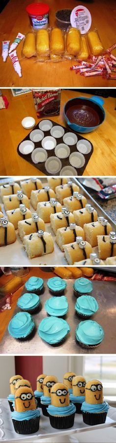 How to Make Despicable Me Minion Cupcakes Twinkie Edition - Cupcakepedia. @Kristie bryller I think Tristan will need these at a birthday party in the future! Lol! So cute!