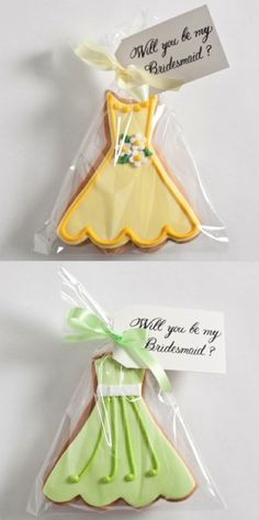 """Will you be my bridesmaid?"" sugar cookies to ask each of your maids. Also can do sugar cookies in shape of flowers or a ring for the flower girl and ring bearer. neat idea."