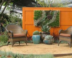 great succulent wall, love the orange too!