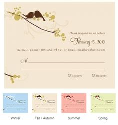 Love Birds RSVP Cards (Set of 8 - 4 Colors) from Wedding Favors Unlimited