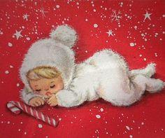 Vintage Snow Baby Christmas Card
