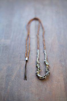 Mixed Media Boho Necklace /  Black SIlver Brown Necklace /  Gemstone Necklace /  Dalmation Jasper Necklace - 78cm