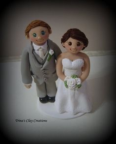 Bride and Groom Wedding Cake Topper by Trina's Clay Creations
