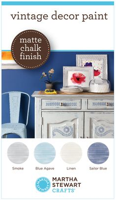 Learn more and see all 22 colors in the New Martha Stewart Crafts® Vintage Decor Paint with a Matte Chalk Finish, Wax and Stencils in @MichaelsStores and great for #diy furniture, #crafts and home decor projects #plaidcrafts #marthastewart #marthastewartcrafts
