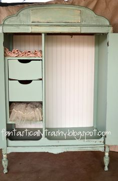 Shabby Chic Armoire Inside. Love the drawers inside