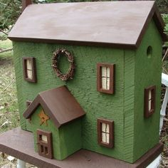 Birdhouse Woodland Earth Moss Green & Brown by baconsquarefarm, $115.00