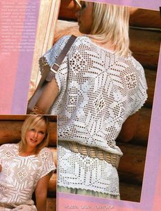 White crochet blouse, filet work with diagrams
