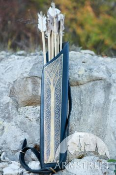 Archery Quiver Medieval Elven Leather Longbow Master Etched Brass. $172.50, via Etsy.