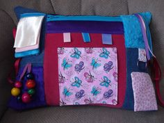 Alzheimer's Dementia Activity Pillow Fidget, Ties to chair or wheelchair - Hours of Busy Therapy Fun - Pink butterfly