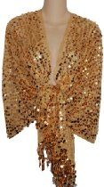 Sheer Gold Sequin Fringed Evening Wrap Shawl for Prom Wedding Formal