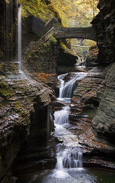 Rainbow Falls in Watkins Glen State Park, NY (Kayuga Lake sp?)