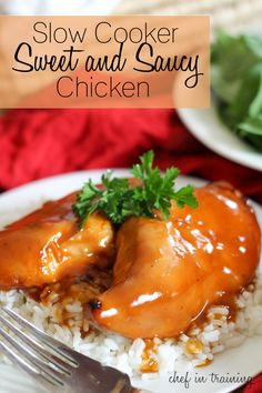 Slow Cooker Sweet and Saucy Chicken.  SLM made kids loved!