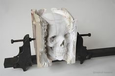Carved Book Skull