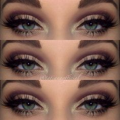 Plum, brown and gold eyeshadow Love these colors for green eyes. Use them all the time! colors for green eyes, eye makeup, red hair, bridesmaid makeup, brown and gold eyeshadow, brown eyeshadow for green eyes, wedding makeup, makeup contouring, plum