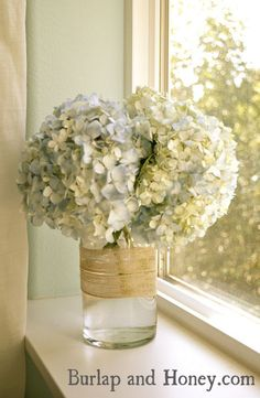 Pale Blue Hydrangea - Bedroom Windowsill by Burlap and Honey, via Flickr