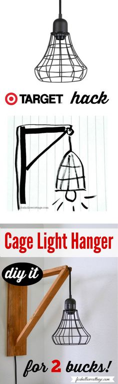 Industrial Pendant Cage Pendant Light Makeover, DIY Wood Wall Hanger Tutorial | $2 and Ten Minutes.