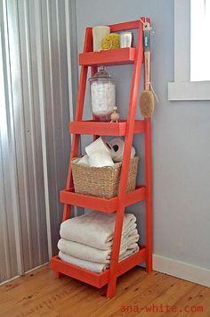 ladder, diy furniture, extra storage, bathroom storage, small bathrooms, bathroom organization, bathroom ideas, bathroom shelves, guest bathrooms