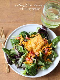 5 minute cilantro lime vinaigrette recipe | Mexican Salad Dressing just 80 calories per serving @julieblanner