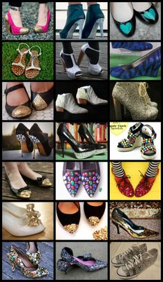Crafty Lady Abby: MULTI-TUTORIALS: Shoe Makeovers - Glitter, Gems, and Sequins