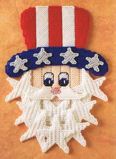 Holiday Free Plastic Canvas Patterns | ... -SPANGLED SAM - Plastic Canvas Pattern - July 4th Holiday Celetration
