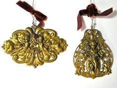 2 Vintage Brass Angel Christmas Ornaments by borahstyle on Etsy, $14.00