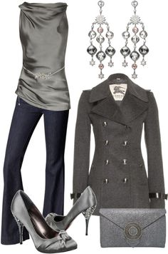 """""""Silver & Grey"""" classy, chic and classic on Polyvore #fashion #women"""