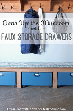 A great tutorial on how to create customized storage drawers painted in Aubusson Blue Chalk Paint® decorative paint by Annie Sloan | By Organized with Annie | Via Teal and Lime