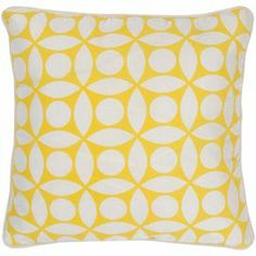 "Pillow with a geometric motif and piped edging.Product: PillowConstruction Material: Polyester coverColor: Yellow and whiteFeatures:Insert includedPiped edging  Dimensions: 18"" x 18"""